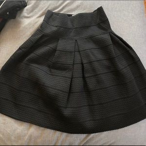 Black A-line Structured Skirt
